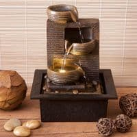 Cascading Stone 3 Bowls Indoor Water Fountain